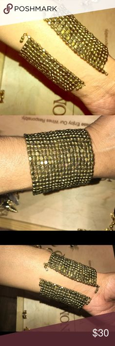 Gold Metal Beaded Cuff Cute with anything and everything. It fits big so tiny wrist need not try. Jewelry Bracelets