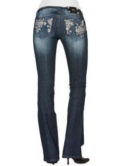 Miss Me Floral Embellished Bootcut Jean. Charming floral embroidery puts a feminine edge on this stylish jean ...