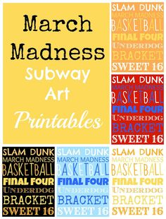 March Madness Subway Art Free Printable from www.thepinkflour.com #marchmadness #basketball #printable #thepinkflour #subway #art #free