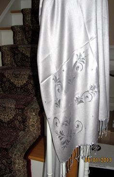 silver pashmina shawl - makes an evening wrap in silvery beauty to enhance your evening dresses/gowns.