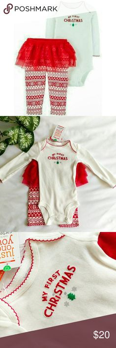 """🆕🎄My 1st Christmas Baby Girl Set Precious newborn Christmas set, brand new with tags. Comes with """"My First Christmas"""" long sleeved onesie and fair isle print leggings with an adorable tutu attached. Carter's Matching Sets"""