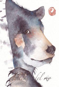 ACEO ORIGINAL watercolor painting Del Rio spirit totem animal 'MYSTIC BEAR' #MiniatureACEOArtCard
