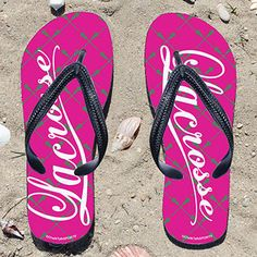 Lacrosse Word Lacrosse Stick Pattern Pink/Green Girls Flip Flops - Kick back after a lacrosse game with these great flip flops! Fun and func...