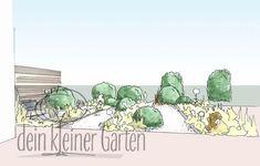 Handzeichnung, koloriert: Perspektischer Blick in einen Reihenhausgarten von der sekundären Terrasse in den Grünzug außerhalb des Gartens. Die Wege und Beete laufen nun in Blickrichtung. Patio, Lawn, Concept