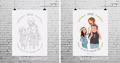 Boceto e ilustración personalizada de mi familia realizada por Tizas hechas trizas | Blog Mi casa en cualquier parte