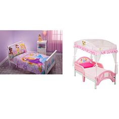 Disney Princess Toddler Bed with Canopy and Bedding Set Value Bundle - My girl would totally feel like a princess #DisneyPrincessWMT
