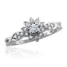 14k White Gold Flower Shape Diamond Ring Band - Unusual Engagement Rings Review