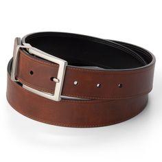 Men's Croft & Barrow® Soft Touch Stitched Reversible Belt, Size: 40, Brown