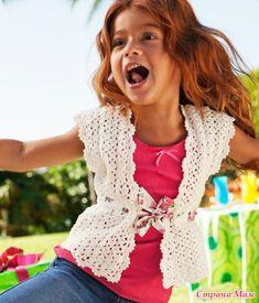 "Pretty crochet sleeveless vest for a girl. Жилет для девочки от H&M: Дневник группы ""Вяжем вместе он-лайн"" - Страна Мам"