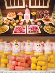 sofia the first dessert table with owl candies