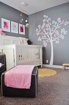Tree Wall Decals - Rose Tree from Apartment Therapy - White Grey Pink Nursery for Baby Girl - Owl Bedding and Mobile - Gray Nursery Owl Themed Nursery, Nursery Themes, Nursery Room, Nursery Ideas, Room Ideas, Girl Owl Nursery, Elephant Nursery, Child's Room, Art Ideas