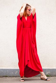 Red Maxi Dress / Loose Red Kaftan / Oversize Extravagant Dress / Asymmetric Plus Size Dress TDK26