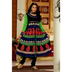Black Faux Georgette Salwar kameez with Embroidery and Patch work