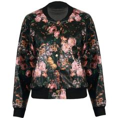 Yoins Yoins Bomber Jacket (915.880 VND) ❤ liked on Polyvore featuring outerwear, jackets, coats, black, bomber jacket, coats & jackets, blouson jacket, flight jacket, flower print jacket and bomber style jacket