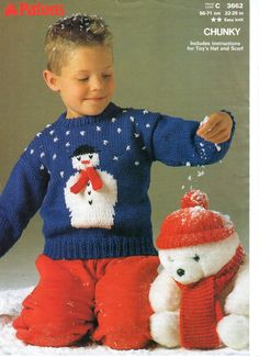 15b21f869a Snowman Sweater Toy Hat Vintage Christmas Knitting Pattern an Original  Pattern Cameron had this sweater and bear