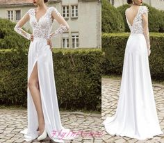 White Wedding Dresses 2016 A Line WeddingGown With Long Sleeves Lace Slit Side…