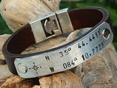 FREE SHIPPING. Custom Coordinates-Mens Personalized by MENSLEATHER