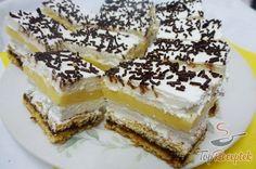 Frissítő citromos-tejszínhabos szelet Czech Recipes, Ethnic Recipes, Cheesecake, Lemon Cream, Sauerkraut, Sweet Recipes, Raspberry, Bakery, Food And Drink