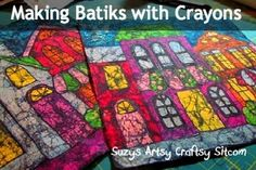 Making batiks with crayons  can make cute curtains for kids this way