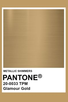Glamour Gold #Metallic #Pantone #Color Pantone Metallic Gold, Gold Pantone Color, Pantone Colour Palettes, Pantone Colours, Pantone Swatches, Color Swatches, Metallic Paint Colors, Color Of The Week, Deco Restaurant
