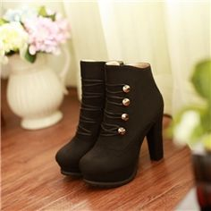 New Suede Black Chunky Heel Lace-up Closed Toe Ankle Boots with Platform