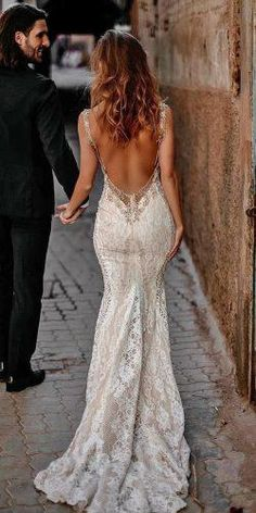 27 Unique & Hot Sexy Wedding Dresses ❤️ sexy wedding dresses ideas trumpet low back lace beaded for summer tali photography Mermaid Sexy Deep V-back Wedding Dress.The professional tailors from wedding dress Wedding Dresses For Girls, Wedding Dress Trends, Bridal Dresses, Wedding Gowns, Girls Dresses, Wedding Bride, Backless Wedding Dresses, Mermaid Dresses, Lace Weddings