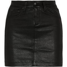 Rag & bone Leather mini skirt ($343) ❤ liked on Polyvore featuring skirts, mini skirts, bottoms, saias, faldas, black, short leather skirt, short skirts, button skirt and genuine leather skirt