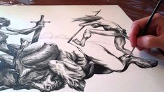 Brush & Ink drawing by fantasy artist Jeff Miracola