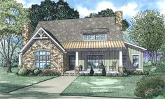 Front Elevation of this Cottage House (#153-2010) at The Plan Collection.
