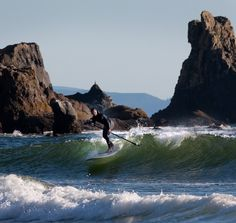 Paddle surfing at Cannon Beach - Oregon Coast