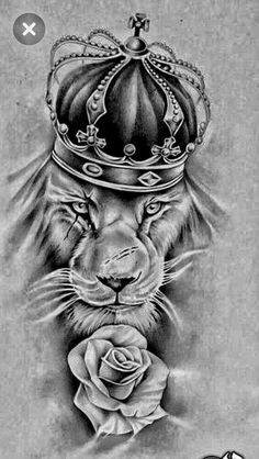Nice but I rather have the Bull. Lion Tattoo King, King Crown Tattoo, King Tattoos, Leo Tattoos, Dope Tattoos, Black Tattoos, Future Tattoos, Body Art Tattoos, Petit Tatoo
