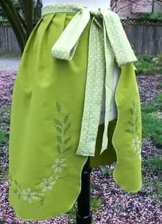 Our newest up-cycled apron from a vintage cross-stitched table cloth. $30