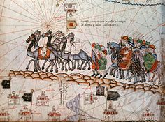 Marco Polo in Caravan with Brothers from Catalan Map World History/Asia Bibliotheque Nationale, Paris, France