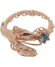 Alex Monroe Rose Gold-Plated Lobster Aquamarine Ring | Jewellery | Liberty.co.uk