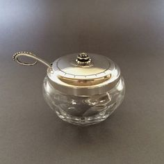 "Gallery 925 - Georg Jensen ""Jam Pot"" with Spoon No. 486. Handmade Sterling Silver."