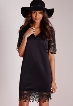 Lace Hem T-Shirt Dress Black-dresses-t-shirt dresses-missguided
