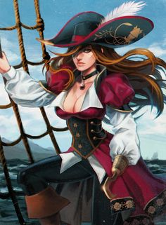 f Female Rogue Thief Pirate Captain Anime Pirate Queen, Pirate Art, Pirate Woman, Pirate Life, Lady Pirate, Fantasy Character Design, Character Concept, Character Inspiration, Character Art