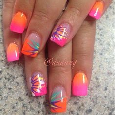 Bright pink and orange