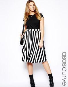 ASOS CURVE Exclusive Midi Skirt In Stripe