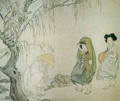 Korean Traditional art by Shin Yun-bok: A Buddhist nun (biguni) greeting a gisaeng 이승영기(尼僧迎妓)