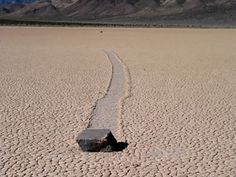 One of the most interesting mysteries of Death Valley National Park is the sliding rocks at Racetrack Playa (a playa is a dry lake bed). These rocks can be found on the floor of the playa with long trails behind them.  Somehow these rocks slide across the playa, cutting a furrow in the sediment as they move.
