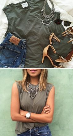 Sincerely Jules - karlie tank perfect denim cutoffs and your favorite sandals, ripped skinny jeans and a statement necklace.
