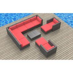 Urban Furnishing Aruba 11 Piece Outdoor Wicker Patio Furniture Set - 11B-ARUBA-CORALRED