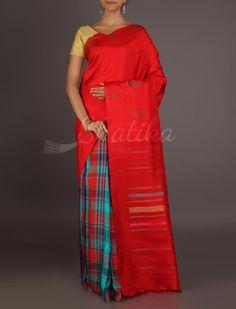 Vaishali Half Checks Half Plain Trendy #ArniSilkSaree