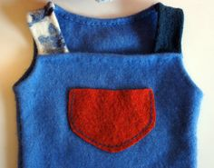 cashmere baby sweater vest with a pocket in blue and di dkform, $40.00