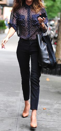 Sheer blouse + trousers