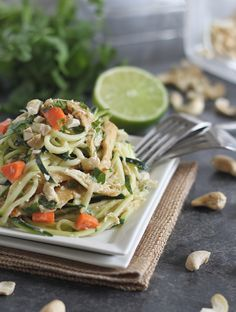 These Thai chicken zucchini noodles are made with zucchini pasta and coated in a creamy peanut Thai sauce for a healthier version of takeout. Paleo Recipes, Asian Recipes, Real Food Recipes, Chicken Recipes, Dinner Recipes, Cooking Recipes, Ethnic Recipes, Yummy Food, Drink Recipes