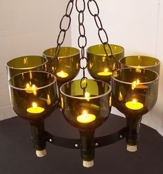 Recycled Wine Bottle Garden or Candle Chandelier
