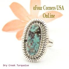 Four Corners USA Online - Size 7 Dry Creek Turquoise Sterling Ring Navajo Artisan Robert Concho NAR-1654, $115.00 (http://stores.fourcornersusaonline.com/size-7-dry-creek-turquoise-sterling-ring-navajo-artisan-robert-concho-nar-1654/)