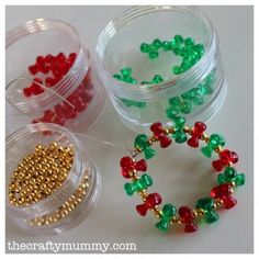 Cute bead wreath. Great for children's project or to make and put on holiday gift package.